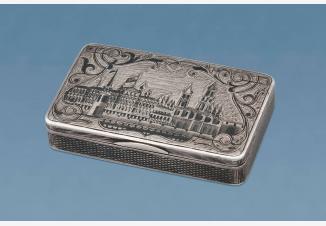 Черненый портсигар с видами Московского Кремля (Пробирный мастер Виктор Савинков)